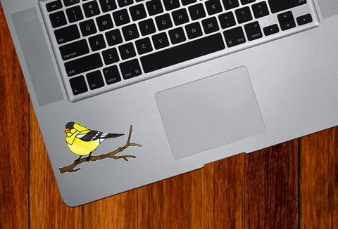 "CLR:TP - Bird - Goldfinch Perched on Branch - Stained Glass Style - Opaque - Vinyl Trackpad Tablet Decal ©YYDC (SM 3""w x 2""h)"