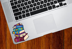 "CLR:TP - Books - Stack of Books - Stained Glass Style - Opaque - Vinyl Trackpad Tablet Decal ©YYDC (SM 2.5""w x 3""h)"