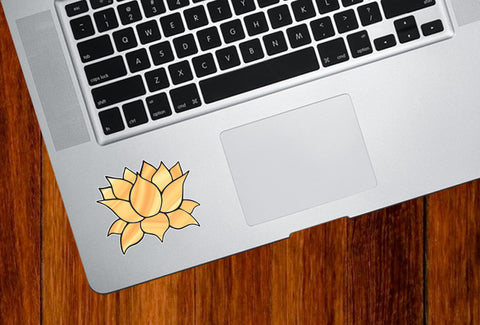 "CLR:TP - Stained Glass Style Lotus Flower - Design 4 - Vinyl Decal for Trackpad | Tablet | Indoor Use - © 2016 YYDC (COLOR CHOICES) (2""w x 1.75""h)"