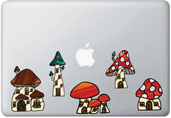 CLR:TP - Mushroom Village - Fairy - Gnome - Fantasy - Stained Glass Style Vinyl Tablet Trackpad Decals - Copyright 2017 Yadda-Yadda Design Co. (VARIATIONS AVAILABLE)