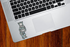 "CLR:TP - Patterned Bear - Pajama Bear - Vinyl Trackpad Tablet Decal - Copyright ©YYDC (SM 1.25""w x 3""h)"