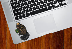 "CLR:TP - Patterned Beaver - Cute Beaver - Vinyl Trackpad Tablet Decal ©YYDC (SM 2.5""w x 3.25""h)"