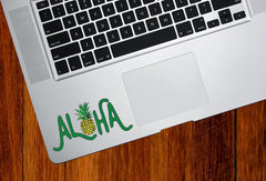 "CLR:TP - Aloha Pineapple - Laptop Trackpad Tablet Vinyl Decal - © 2015 YYDC (3.75""w x 2"")"