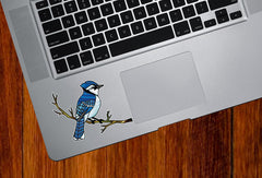 "CLR:TP - Blue Jay Bird Perched on Branch - Stained Glass Style Vinyl Trackpad Tablet Decal ©YYDC (3""w x 2.25""h)"