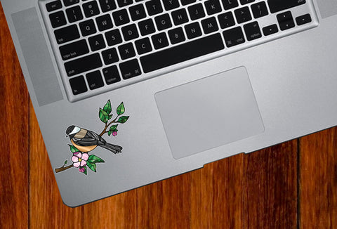 "CLR:TP - Chickadee with Apple Blossom - Bird - Stained Glass Style - Opaque - Vinyl Trackpad Tablet Decal ©YYDC (SM 3""w x 2.5""h)"