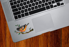 "CLR:TP - Oriole Bird Perched on Branch - Stained Glass Style - Opaque Vinyl Trackpad Tablet Decal ©YYDC (3.2""w x 2""h)"