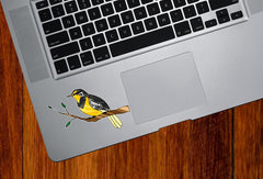 "CLR:TP - Western Meadowlark Bird on Branch- Stained Glass Style - Opaque Vinyl Trackpad Tablet Decal ©YYDC (3.75""w x 2.75""h)"