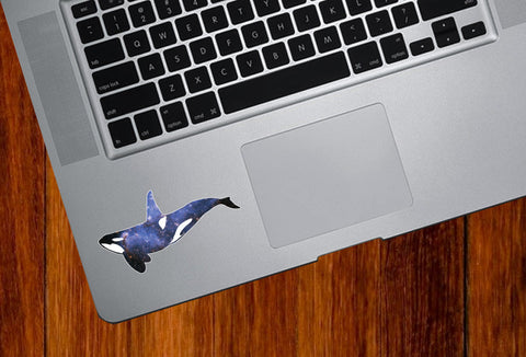 "CLR:TP - Cosmic Orca - Killer Whale - Spirit Animal - Trackpad | Tablet | iPad - Vinyl Decal Sticker © YYDC (3""w x 1.5""h)"