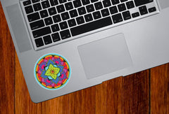 CLR:TP - Floral Mandala -  Vinyl Trackpad Tablet iPad Decal - © 2016 YYDC (3 inch dia.)(Color Choices)