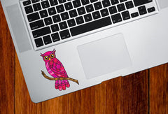 "CLR:TP - Curious Owl - Stained Glass Style Vinyl Trackpad Decal  ©YYDC (2.25""w x 3""h) (Color Choices Available)"