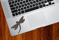 "CLR:TP - Patterned Dragonfly - Vinyl Trackpad Decal ©YYDC (3""w x 2.75""h) (Color Choices)"