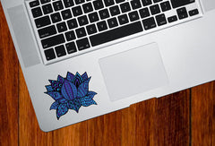"CLR:TP - Patterned Indigo Zen Lotus Flower - Vinyl Decal for Laptop | Macbook | Indoor Use - © 2016 YYDC (COLOR CHOICES) (3""w x 2.5""h)"