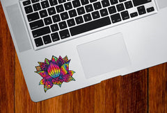 "CLR:TP - Patterned Rainbow Lotus Flower - Vinyl Trackpad Decal - © 2016 YYDC (COLOR CHOICES) (3""w x 2.5""h)"