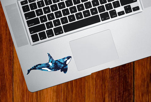 "CLR:TP - Tie-Dye Orca - Killer Whale - Trackpad | Tablet | iPad - Vinyl Decal Sticker © YYDC (4""w x 2""h)"
