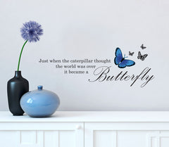 "WALL - Alice in Wonderland Butterfly Quote - Vinyl Decal for Walls | Home Decor © YYDC (21.75""w x 8.5""h)(Variations Available)"