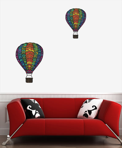 CLR:WALL - Patterned Hot Air Balloon - Rainbow - Vinyl Wall Decal © YYDC  (Size Choices)