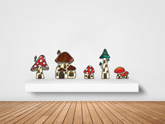CLR:WALL - Mushroom Village - Fairy - Gnome - Fantasy - Stained Glass Style Vinyl Wall Decals - Copyright 2017 Yadda-Yadda Design Co. (VARIATIONS AVAILABLE)