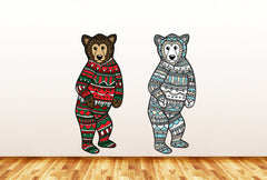 CLR:WALL - Patterned Bear - Polar Bear - Pajamas Bear - Vinyl Wall Decal - Copyright ©YYDC (SIZE COLOR CHOICES)