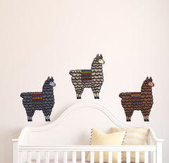 CLR:WALL - Patterned Llama - Cute Llama - Vinyl Wall Decal ©YYDC (SIZE AND COLOR CHOICE)