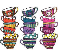 "CLR:WALL - Teacups - Tea Party - Cafe - Cuppa - Alice in Wonderland - Vinyl Wall Decal © YYDC (5.8""w x 13.4""h) (COLOR CHOICES)"