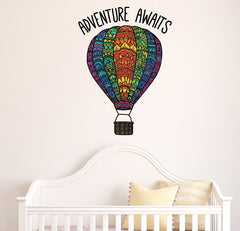 "CLR:WALL - Patterned Hot Air Balloon - ""Adventure Awaits"" Quote - Vinyl Decal for Walls 