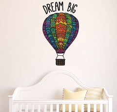 "CLR:WALL - Patterned Hot Air Balloon - ""Dream Big"" Quote - Vinyl Decal for Walls 