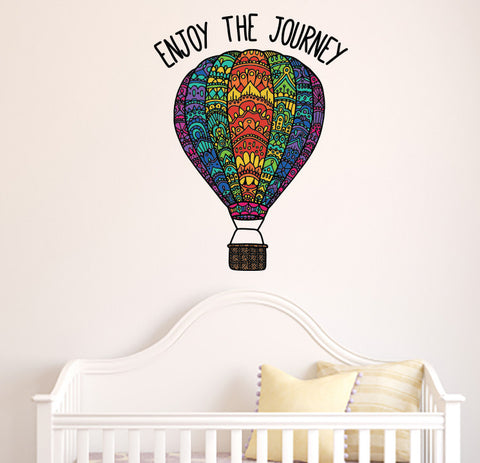 "CLR:WALL - Patterned Hot Air Balloon - ""ENJOY THE JOURNEY"" Quote - Vinyl Decal for Walls 