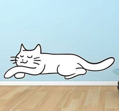 CLR:WALL -  Sleeping Smiling Cat - Vinyl Wall Decal - Copyright 2014 © YYDC (Size Choices)