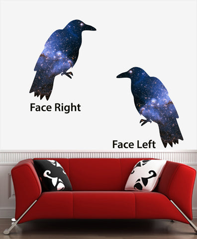 "CLR:WALL - Cosmic Crow - Galaxy Raven - Vinyl Wall Decal © YYDC (22.5""w x 27""h)(Left or Right)"