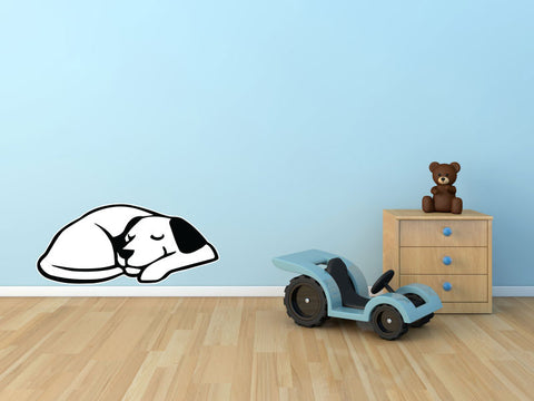 CLR:WALL - Dog Dreaming - Sleeping Smiling Dog - Vinyl Wall Decal - Copyright © YYDCo. (SIZE CHOICES)
