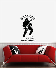 CLR:WALL - Sasquatch - Rock Out w Your Squatch Out - Bigfoot Guitar Solo - Yeti - Vinyl Wall Decal © 2016 YYDCo. (SIZE CHOICES)
