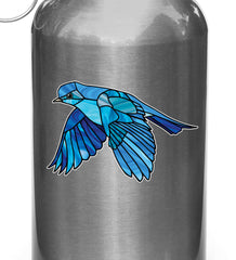 "CLR:WB - Bluebird in Flight - Stained Glass Style - Opaque - Vinyl Water Bottle Decal ©YYDC (SM 3.25""w x 2""h)"