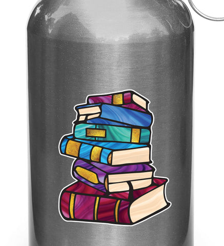 "CLR:WB - Books - Stack of Books - Stained Glass Style - Opaque - Vinyl Water Bottle Decal ©YYDC (SM 2.5""w x 3""h)"