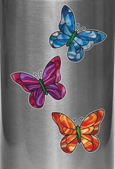 "CLR:WB - Stained Glass Butterfly - D2 - Vinyl Water Bottle Decal ©YYDC (3""w x 2.5""h) (Color Choices)"