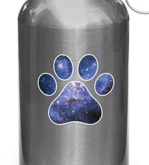 "CLR:WB - Cosmic Dog Pawprint - Galaxy Star Paw Print - Vinyl Water Bottle Decal Sticker (3""w x 3""h)"
