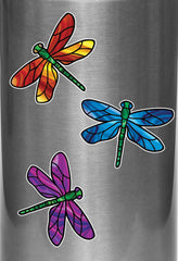 "CLR:WB - Stained Glass Dragonfly - D1 - Vinyl Water Bottle Decal ©YYDC (2.75""w x 2""h) (Color Choices)"