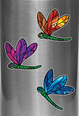 "CLR:WB - Stained Glass Dragonfly - D2 - Vinyl Water Bottle Decal ©YYDC (2.5""w x 2.75""h) (Color Choices)"