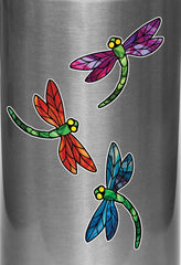 "CLR:WB - Stained Glass Dragonfly - D3 - Vinyl Water Bottle Decal ©YYDC (2.75""w x 2.5""h) (Color Choices)"