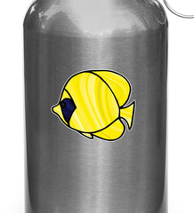 CLR:WB - Tropical Fish - Bluecheek Butterflyfish - Stained Glass Style Opaque Vinyl Waterbottle Decal ©2018 YYDC (SIZE CHOICES)