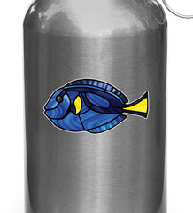CLR:WB - Tropical Fish - Blue Tang - Palette Surgeonfish - Stained Glass Style Vinyl Waterbottle Decal ©2018 YYDC