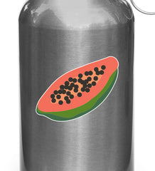 "CLR:WB - Papaya - Tropical Fruit - Vinyl Decal for Reusable Water Bottle - © 2015 YYDC (2.5""w x 1.2""h)"