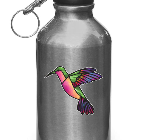 "CLR:WB - Hummingbird Stained Glass Style Vinyl Waterbottle Decal (Opaque) © 2016 YYDC (3.5""w x 3""h) (Color Choices Available)"