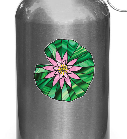 CLR:WB - Waterlily Lilypad - Lotus - Stained Glass Style Vinyl Water Bottle Decal © YYDC (VARIATIONS AVAILABLE)