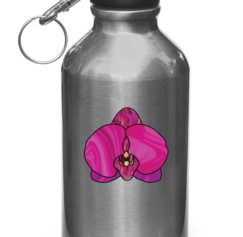"CLR:WB - Stained Glass Style Orchid - Purple Phalaenopsis - Vinyl Decal for Water Bottle | Vacuum Flask | Cup  ©YYDC (2.25""w x 2""h)"
