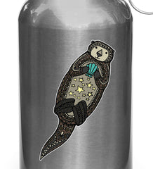 "CLR:WB - Patterned Otter - Sea Otter - Stars - Shells - Vinyl Reusable Water Bottle Decal ©YYDC (1""w x 3.5""h)"