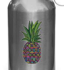 "CLR:WB - Patterned Pineapple - Vinyl Water Bottle Decal - © 2015 YYDC (1.5""w x 3""h) (Color Choices)"