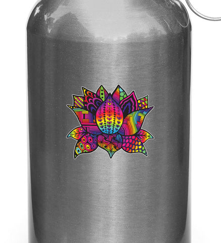 "CLR:WB - Patterned Zen Rainbow Lotus Flower - Vinyl Water Bottle Decal - © 2016 YYDC (COLOR CHOICES) (3""w x 2.5""h)"