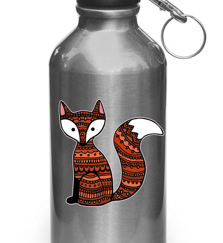 "CLR:WB - Patterned Fox - Vinyl Decal Sticker for Reusable Water Bottle ©YYDC (3""w x 3""h)"