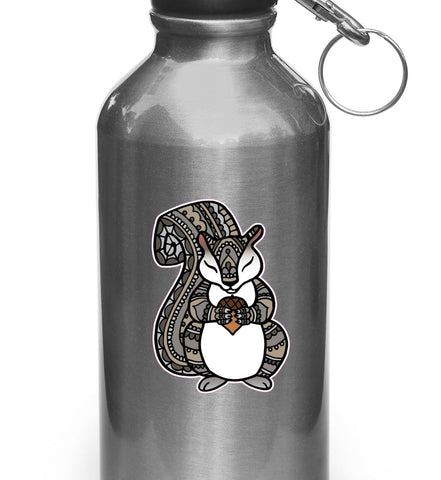 "CLR:WB - Patterned Squirrel - Vinyl Decal Sticker for Reusable Water Bottle ©YYDC (2""w x 2.75""h)"