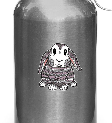 "CLR:WB - Patterned Bunny Rabbit - Vinyl Decal for Reusable Water Bottle - Copyright ©YYDC (SM)(3.25""w x 3.5""h)"